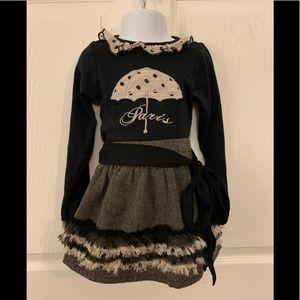 Trish Scully 2pc Paris Umbrella Skirt & Top sz 3T